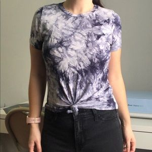 Charlotte Russe blue tie dye knot top small